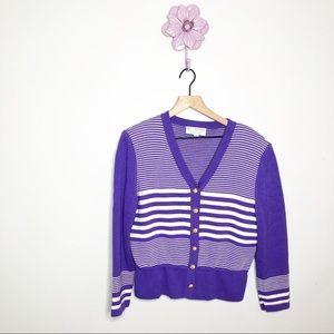 St. John Collection Purple Stripe Button Down